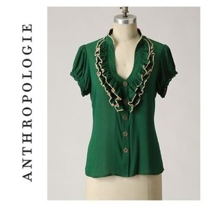 Anthropologie Odille Dewpoint Ruffle Blouse 6